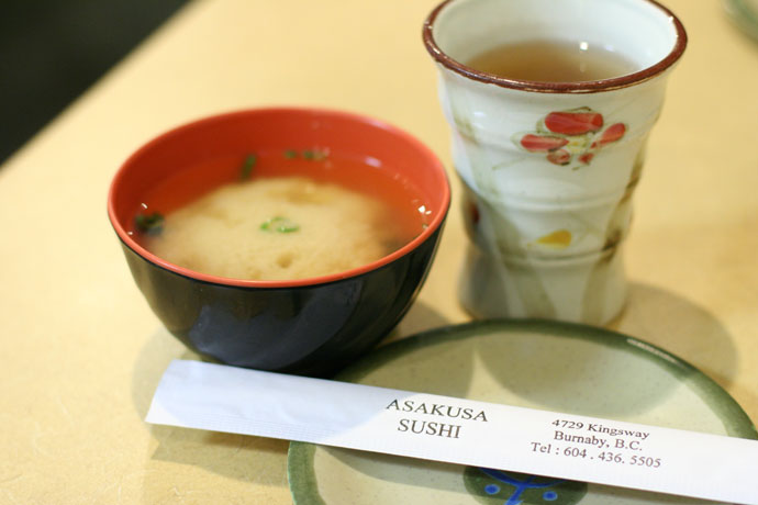 Miso soup ($1.00) and tea from Asakusa Japanese restaurant in Burnaby, BC, Canada.