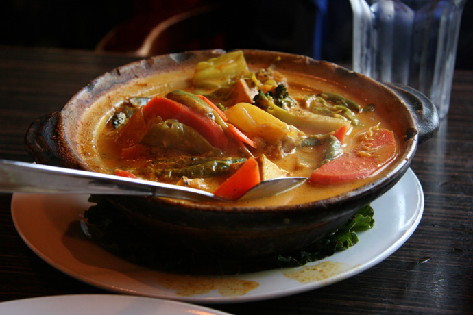 Sayur Lemak Malaysian Vegetable Curry from Banana Leaf restaurant in Kits Vancouver BC Canada.