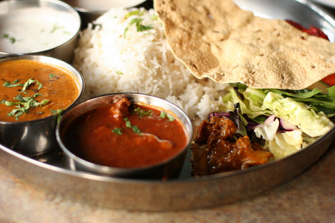 Non-vegetarian Thali combination platter ($14) from Bombay Bhel Indian restaurant in Burnaby.