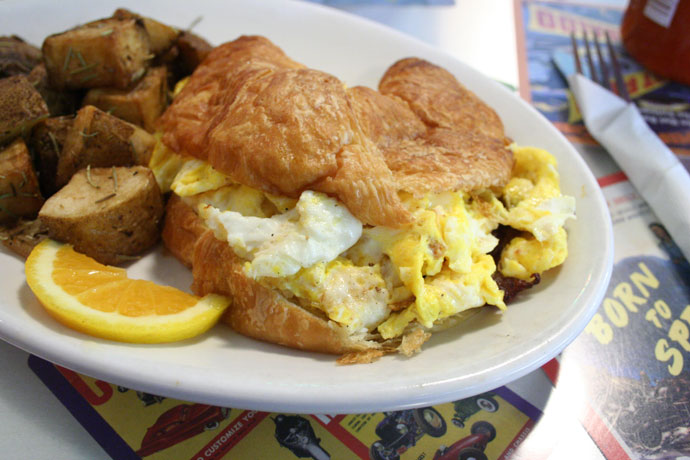 Breakfast eggs in a croissant (Mangled Eggs)