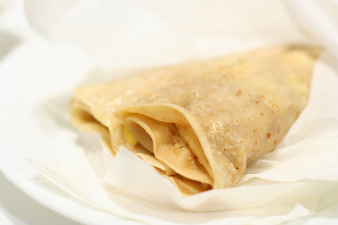 Ham and Cheese Crepe from Cafe Crepe in downtown Vancouver, BC, Canada.
