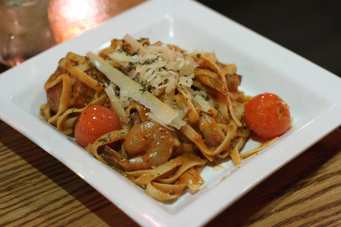 Frutti di mare (seafood) fettuccini from Capones restaurant and live jazz band club in Yaletown, downtown Vancouver BC Canada.