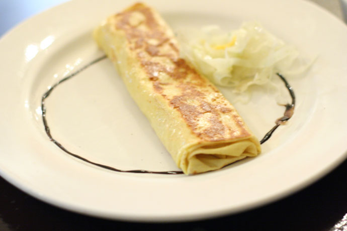 Crepe with Brie Cheese from Cassis French Bistro restaurant in Downtown Vancouver BC Canada.