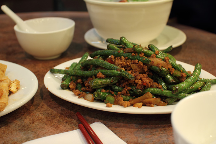 Spicy Green Beans with pork from Congee Noodle House, a great Chinese restaurant in Vancouver Canada.