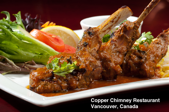 Copper Chimney restaurant at 567 Hornby Street in downtown Vancouver BC Canada.