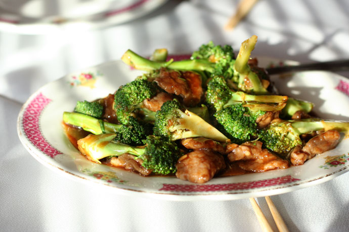 Chinese Beef and Broccoli from East Garden restaurant in Victoria.