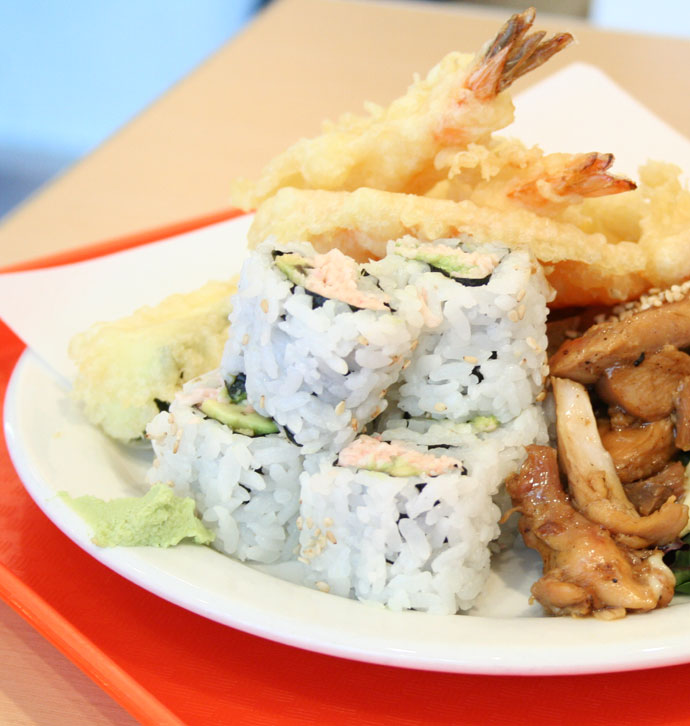 Fast food sushi, tempura, and teriyaki
