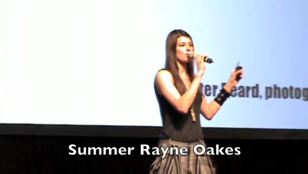 Summer Rayne Oakes, the Eco-Supermodel, talking at the EPIC Vancouver 2009 Trade Show.