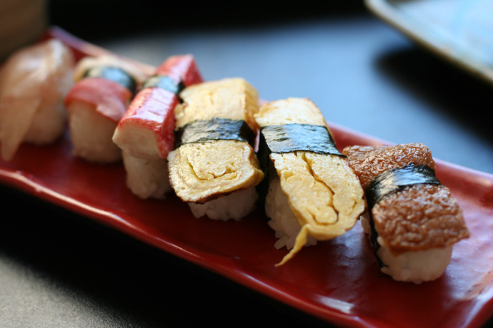 Nigiri Sushi pieces from Fish On Rice Japanese Cuisine Restaurant