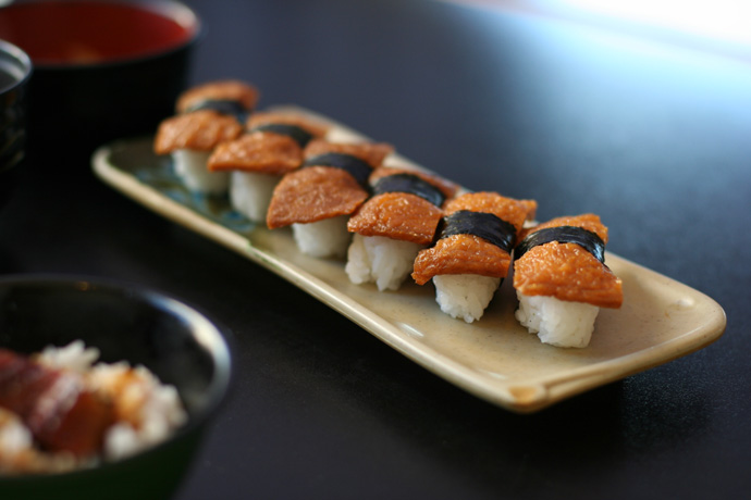 Inari (sweet bean curd wrapper) nigiri sushi (from Fish on Rice All You Can Japanese Cuisine in Burnaby)