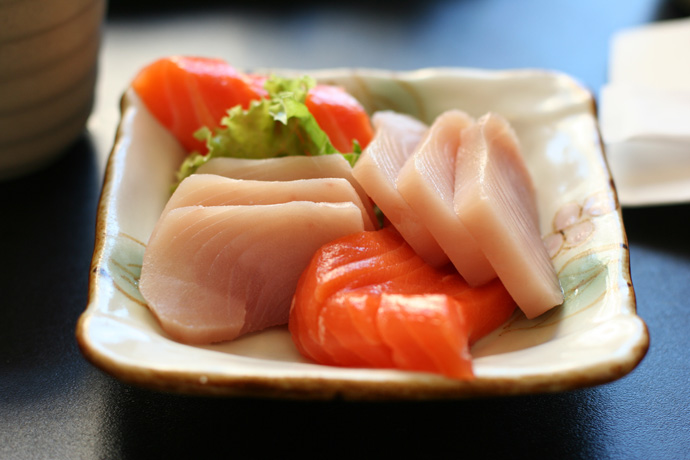 Assorted Tuna and Salmon Sashimi from Fish on Rice Japanese Cuisine (all you can eat) in Burnaby BC Canada.
