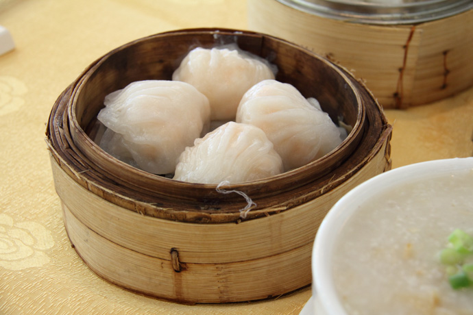 Har gow (shrimp dumplings) from Fraser Court dim sum seafood Chinese restaurant in Vancouver BC Canada.