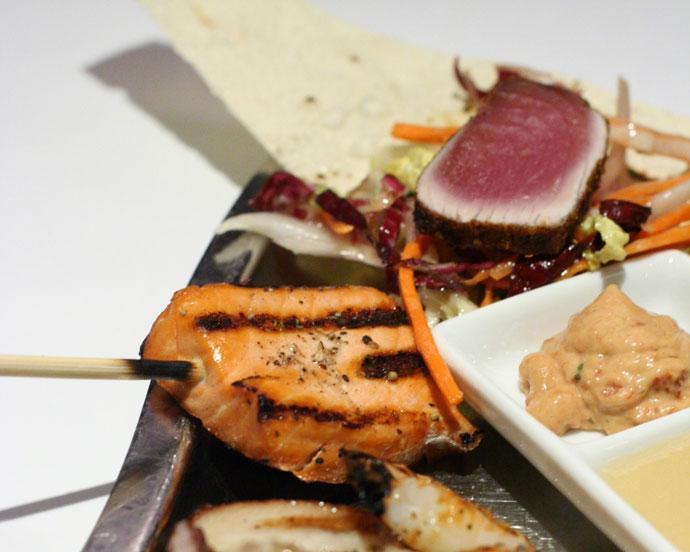 Ahi tuna and chicken satay