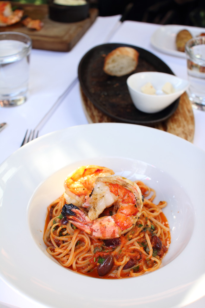 Yummy Seafood Linguine pasta from Glowbal Grill in downtown Vancouver BC Canada.