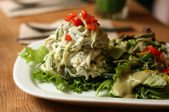 Raw Vegan Cashew Alfredo Zucchini Linguini, from Gorilla Food in Vancouver.  $10.00