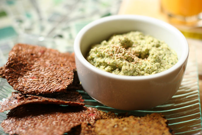 Raw Vegan Zucchini Hummus and Crackers ($7.50) from Gorilla Foods in Vancouver.