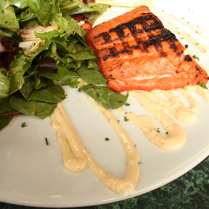 Fresh grilled BC salmon with salad