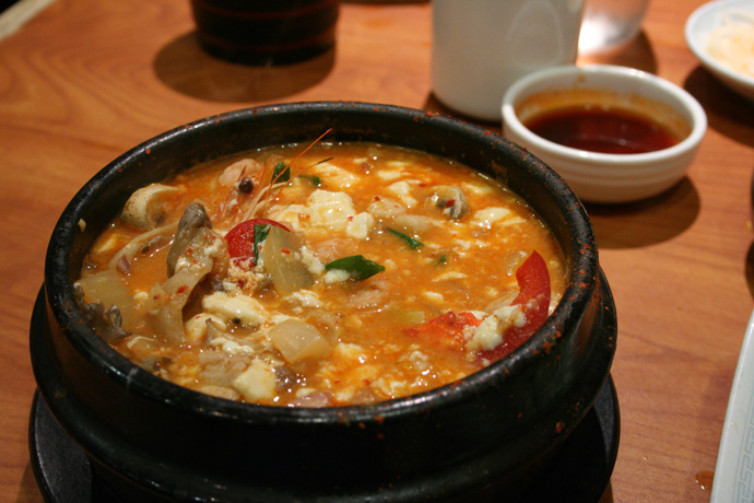 Spicy soft tofu soup from Insadong Korean Restaurant in Coquitlam BC Canada.
