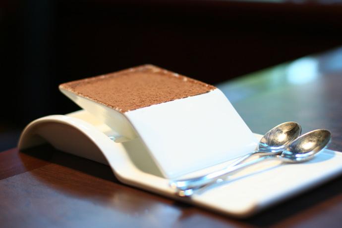 Marscarpone Tiramisu dessert ($5.50) from Irashai Grill Japanese fusion restaurant in downtown Vancouver BC Canada.