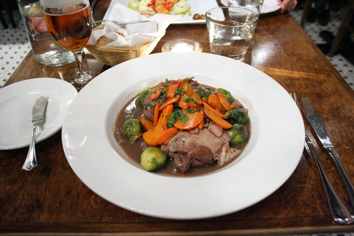 Coq au Vin aux Carottes Fondantes et Choux de Bruxelles Braises ($19) - Braised Hen in Red Wine with Glazed Carrots and Brussel Sprouts from Jules Restaurant in Gastown, Vancouver, BC, Canada.