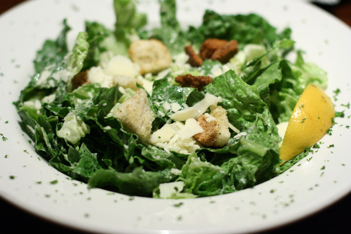 Caesar salad at the Keg Steakhouse restaurant.
