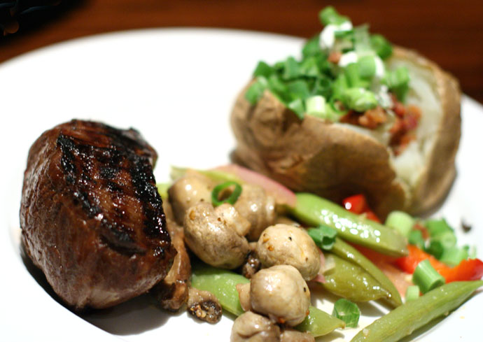 8 oz Teriyaki Classic Sirloin Steak ($23.95 including Caesar salad) from the Keg Restaurant on Granville Island.