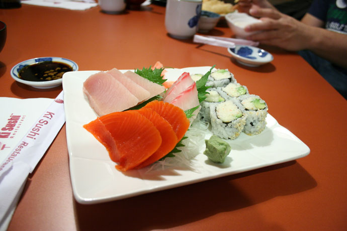 Sashimi dinner (also included ebi sunomono, tempura, miso soup, and dessert).
