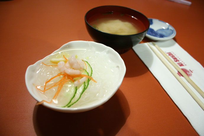 Ebi Sunomono salad and Miso Soup