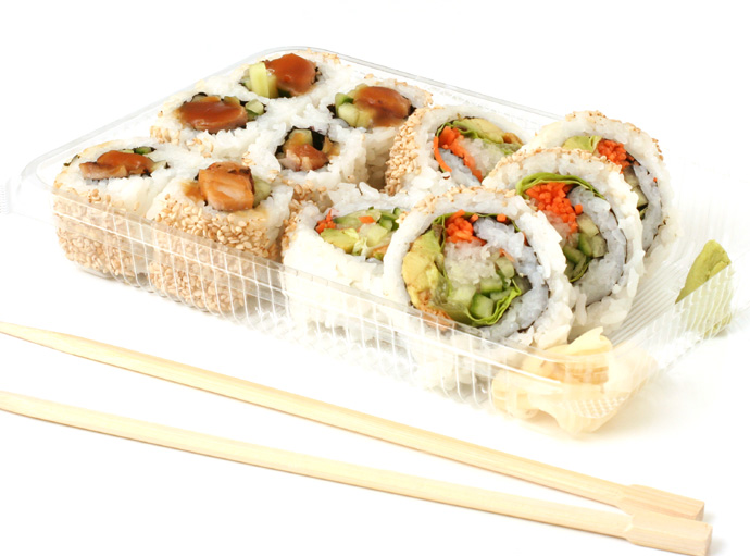 Teriyaki Chicken roll sushi and Vegetarian Sushi