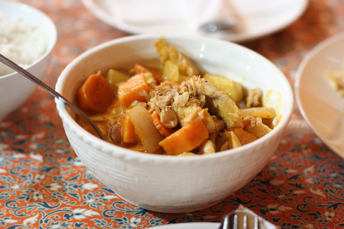 Indian Thai Curry with Potatoes and Chicken ($12.95) from Little Thailand Restaurant in Port Moody, BC, Canada.