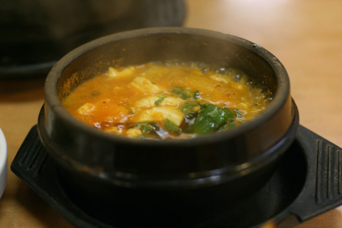 Korean tofu soup from Madangcoul Korean Restaurant in Vancouver, BC, Canada.