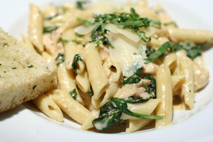 Roasted Chicken Penne Asiago pasta from Milestone's Restaurant in downtown Vancouver.