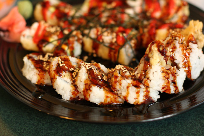 1/2 Spider Roll (Soft Shell Crab, $5.95) from Mr. Sushi Japanese restaurant in Vancouver, Canada.