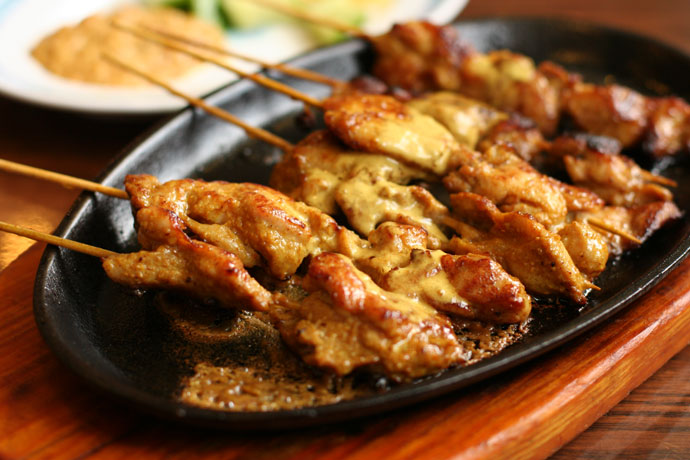 Chicken Satay skewers at Mui Garden restaurant in Richmond (around $5)