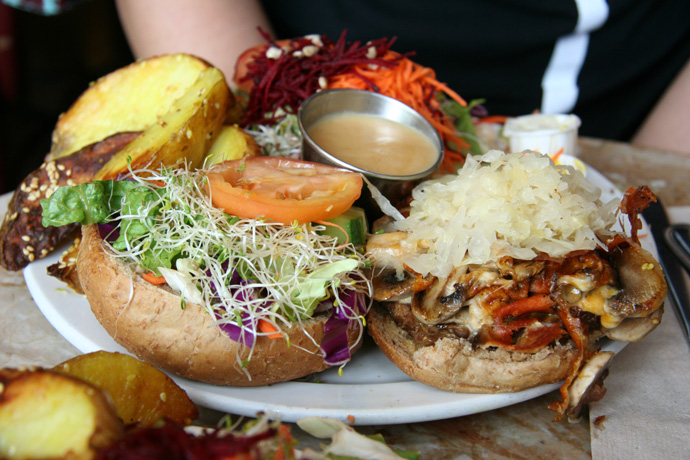 Tempeh Reuben veggie burger platter from the Naam restaurant in Kitsilano Vancouver BC Canada.