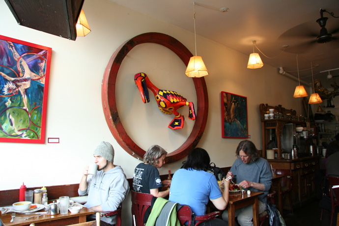 Interior of the Naam vegetarian restaurant in Kitsilano Vancouver BC Canada (open 24 hours).