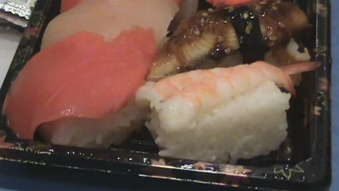 Ebi (shrimp) sushi, salmon, tuna, and unagi (BBQ eel) from Pacific Centre mall food court.