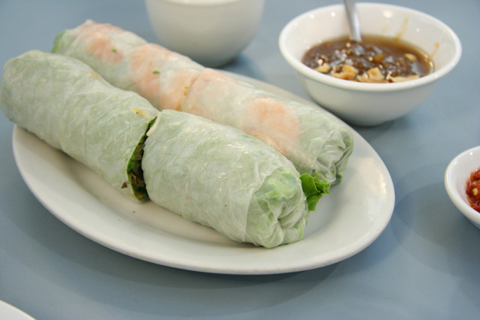 Vietnamese Salad Rolls from Phnom Penh Restaurant in Chinatown, Vancouver, BC, Canada.