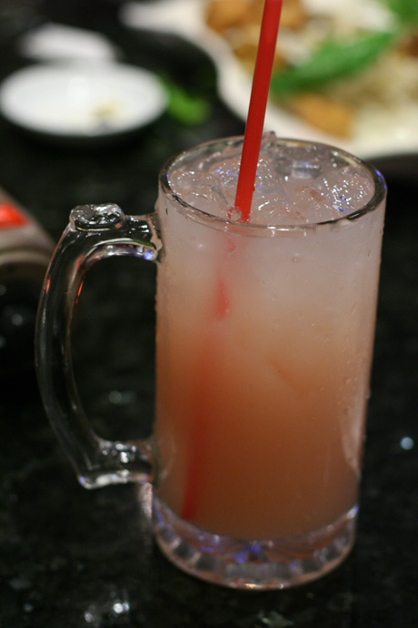 Guava yogurt mixed drink - nice and refreshing! From Posh restaurant in Vancouver.