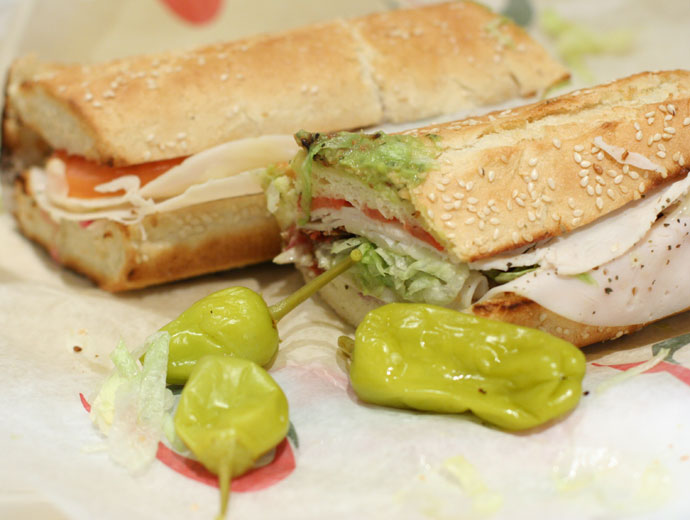 Quiznos sub sandwich (Turkey Bacon Guacamole)