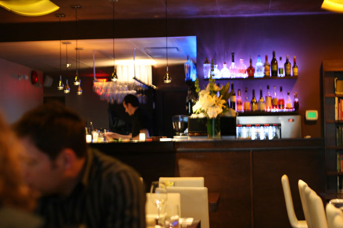The bar at r.tl regional tasting lounge in Yaletown, Vancouver, BC, Canada.