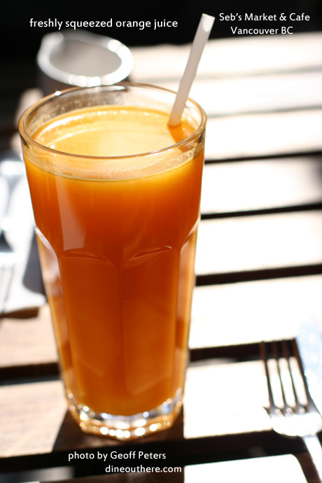 Freshly squeezed orange juice from Sebs, a great breakfast and brunch place in East Vancouver.