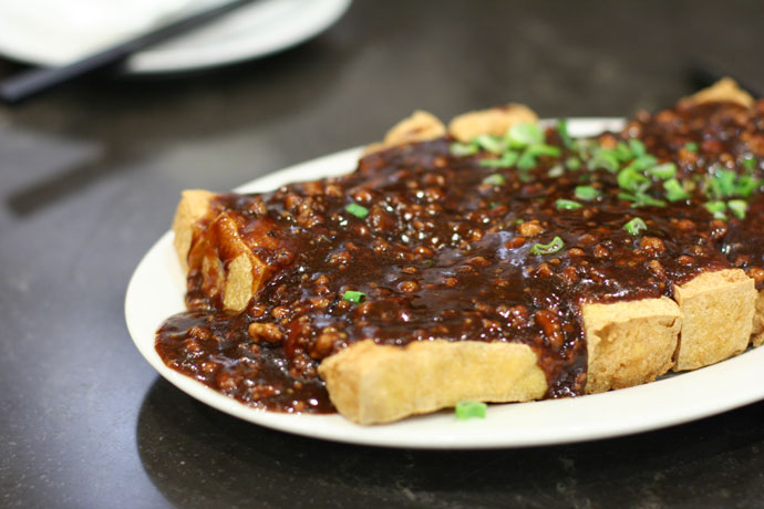 Deep fried Tofu with Minced Pork Sauce ($8.88)