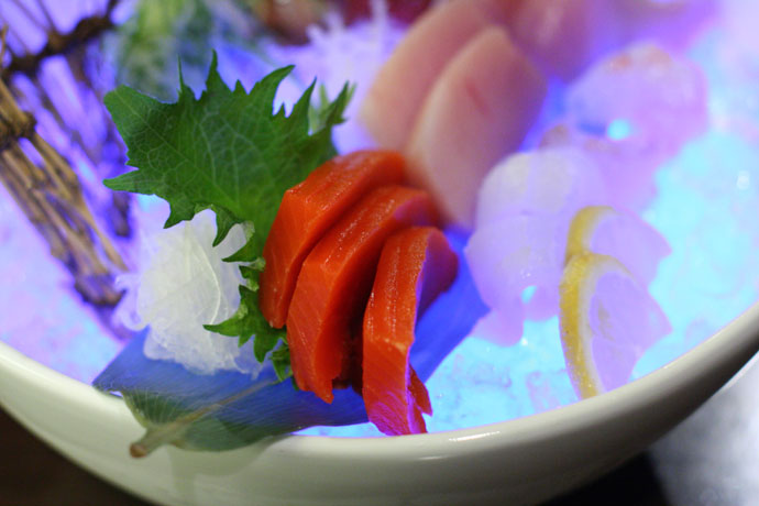 Another shot of the 5 kinds of Sashimi (with glowing ice cubes that give it an interesting lighting effect) from ShuRaku Japanese restaurant
