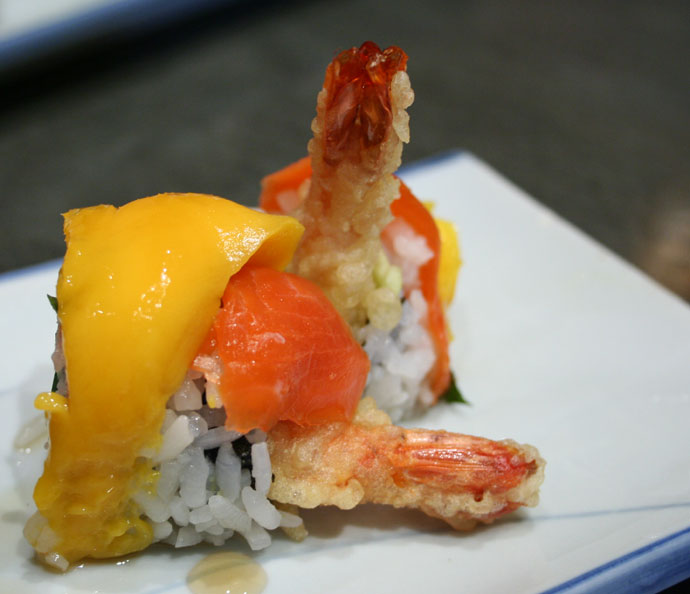 Sunshine roll sushi with mango