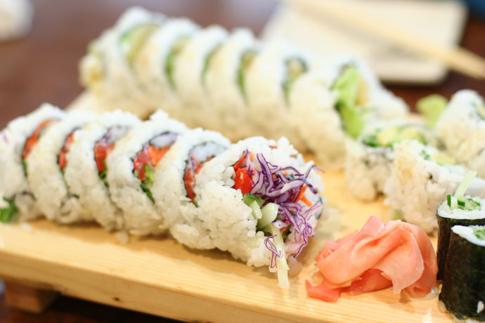 Japanese Vegetarian sushi rolls at Sushi California