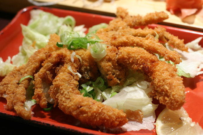 Soft shell crab ($6.95) from Sushi Town in Burnaby, BC, Canada.
