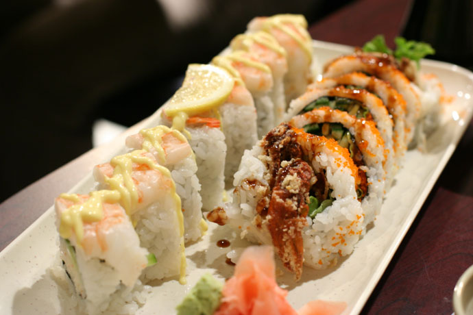 Mangodise Roll ($4.95) and Spider Roll ($6.95) from Sushi Town in Burnaby, BC, Canada.
