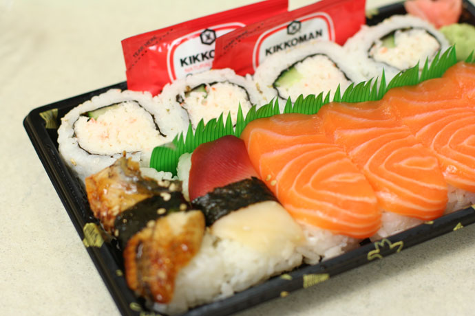 Take out sushi tray from T&amp;T Market in Vancouver, $5.00 (California roll, Salmon Nigiri Sushi, and Unagi sushi)