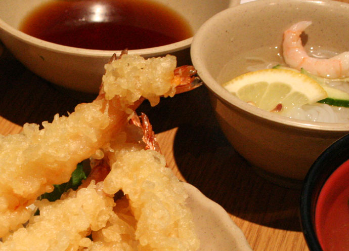 Prawn tempura and ebi sunomono (shrimp salad)